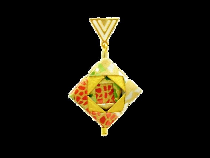 Mayumi Origami Brinco Mosaico Dourado Vermelho