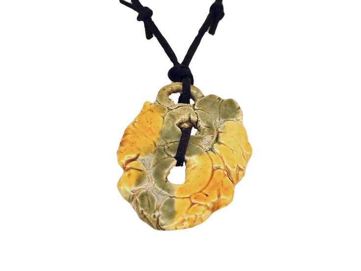 Abstract Pail Green/Yellow Ceramic Necklace