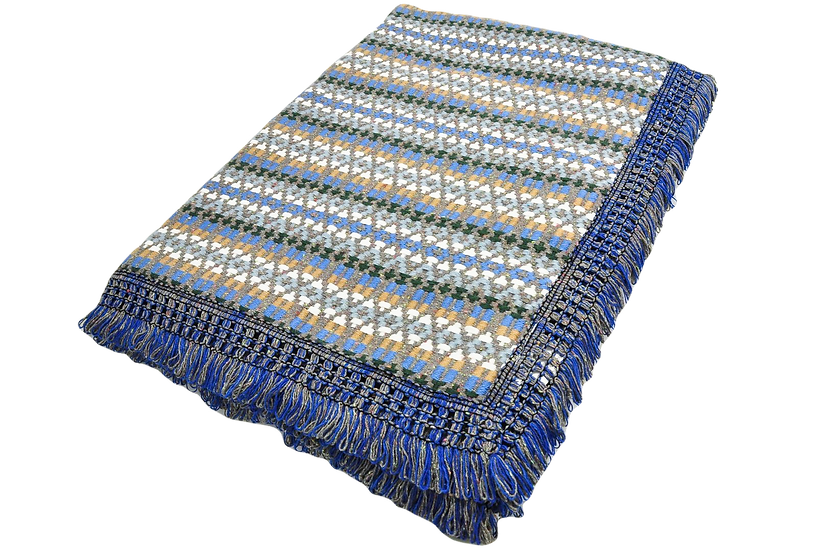 Blue and Honey Ethnic Pattern Rug