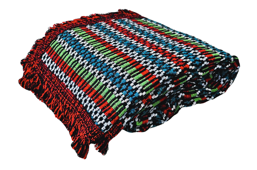 Green and Red Ethnic Pattern Rug