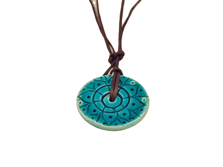 Turquoise Ceramic Disk Necklace