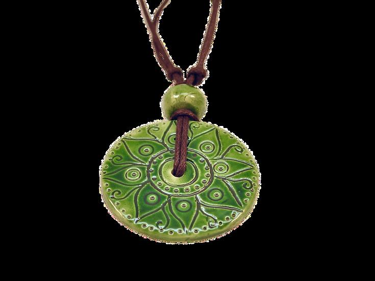 Big Green Ceramic Disk Necklace