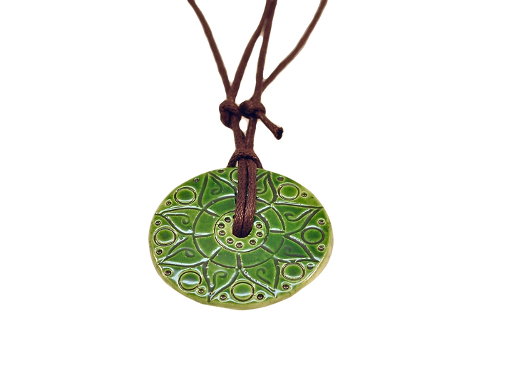 Green Ceramic Disk Necklace