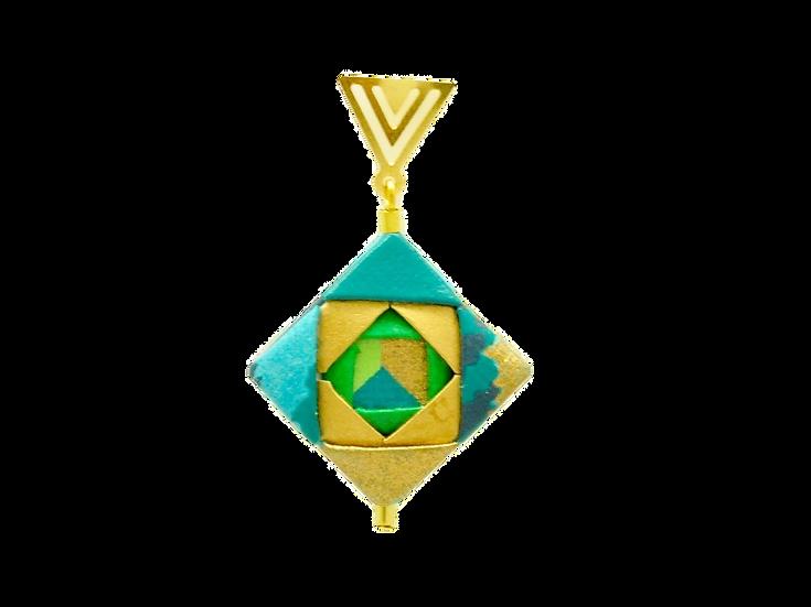 Mayumi Origami Brinco Mosaico Dourado Azul