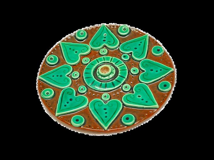 Green Incense Burner Mandala Small Hearts