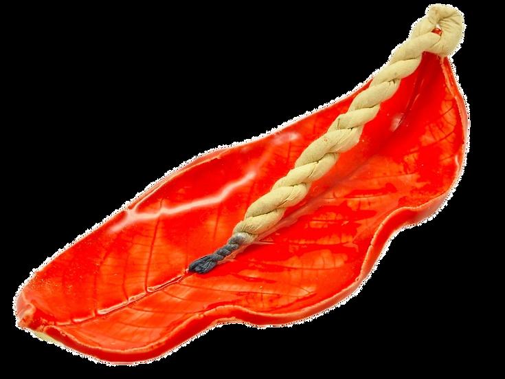 Red Incense Burner Loquat Leaf
