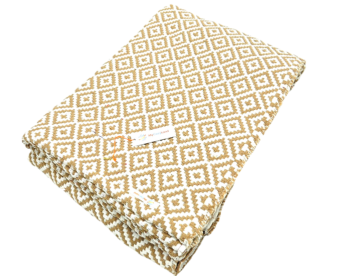 Camel and White Dimond Rug
