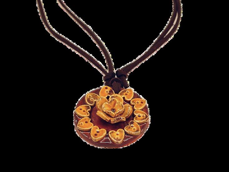 Colar Mandala de Cerâmica Amarelo