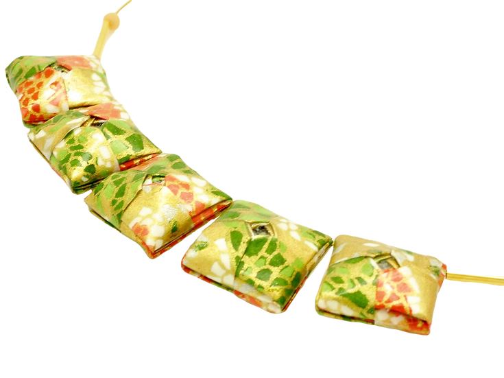 Mayumi Origami Golden Green Mosaic Necklace
