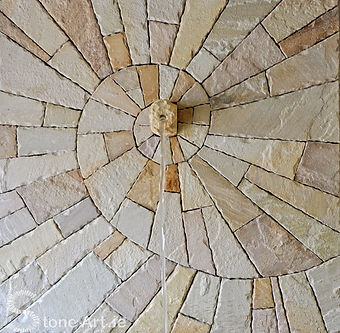 Natural sandstone mosaic water feature panel