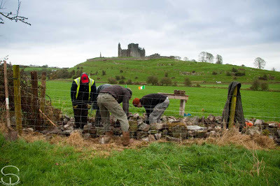 Drystone walling on the foot of The Rock of Cashel