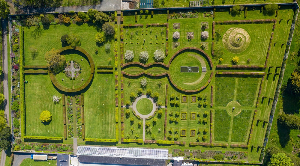 Glen Arm Castle Gardens as seen from above. The 'Mount' visible in the top right corner of the garden.