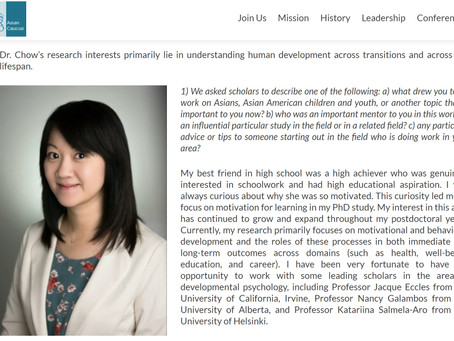 Dr. Chow featured! Society for Research in Child Development Asian Caucus Spotlight