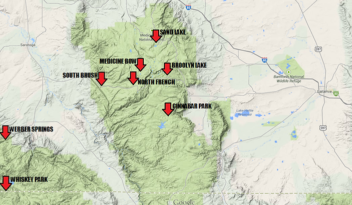 Snowy Range Wyoming Map.Snowy Range Medicine Bow National Forest Snowmobiling Information