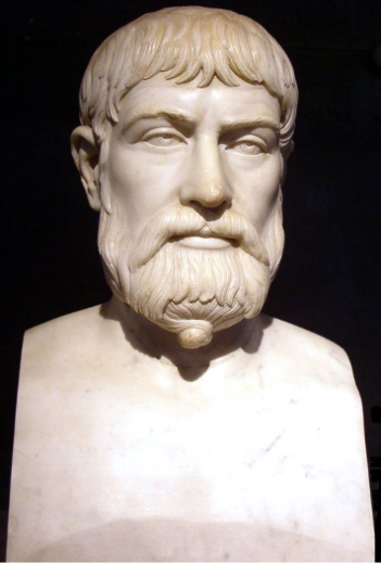 A Roman copy of the Greek 5th century bust of Pindar, at Museo Archeologico Nazionale, Naples