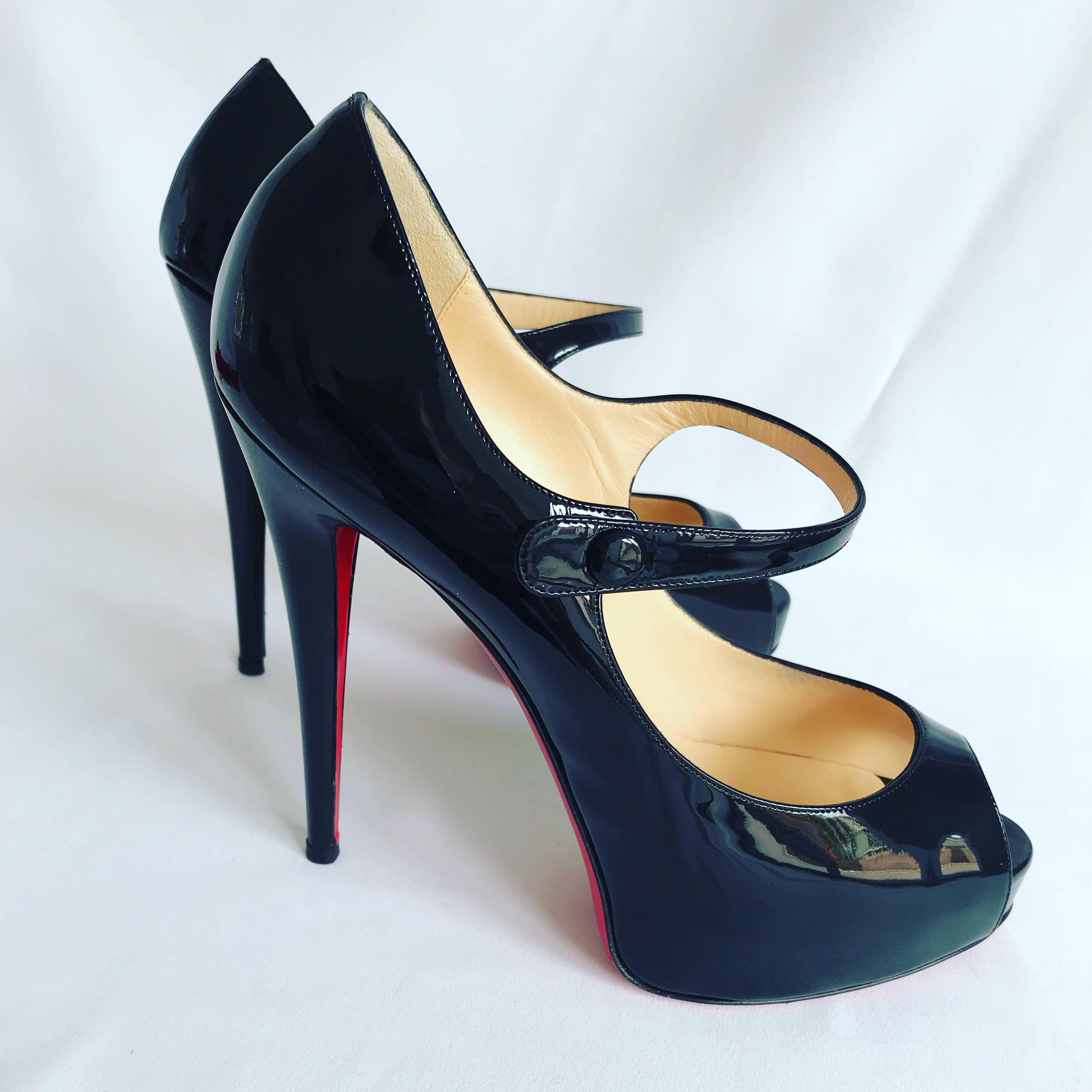 buy online 5b425 e39ed Christian Louboutin Black Patent Bana Mary Jane 130 Size 41.5 (UK 8.5) |  The ClassicCouture