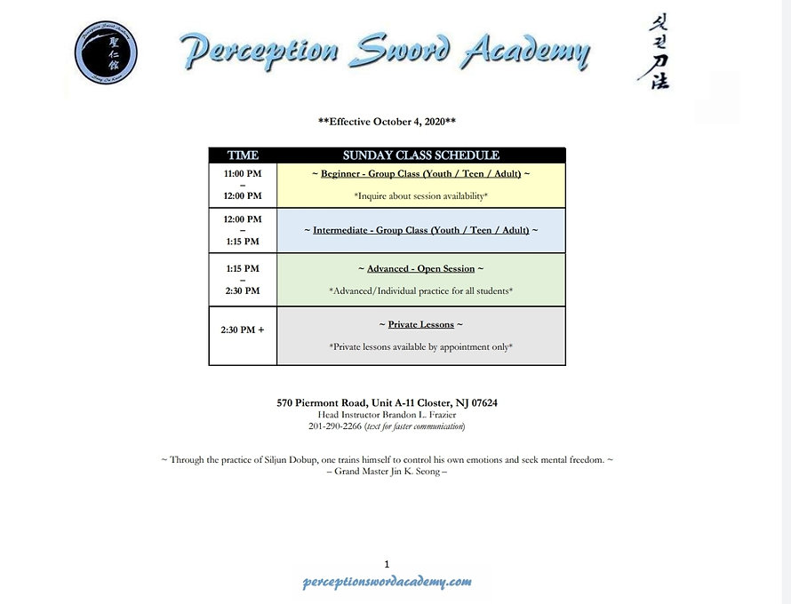 Class Schedule_Perception Sword Academy_