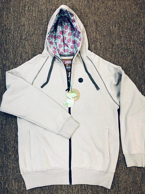 Seedless grey tropical zipup hoodie