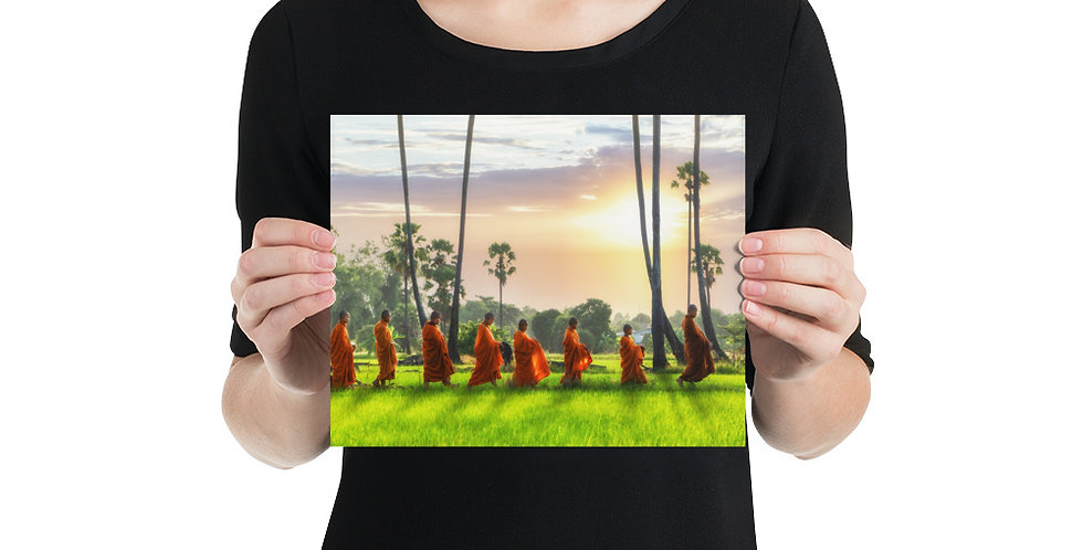 Photo paper poster: Monk is walking across rice field in Thailand