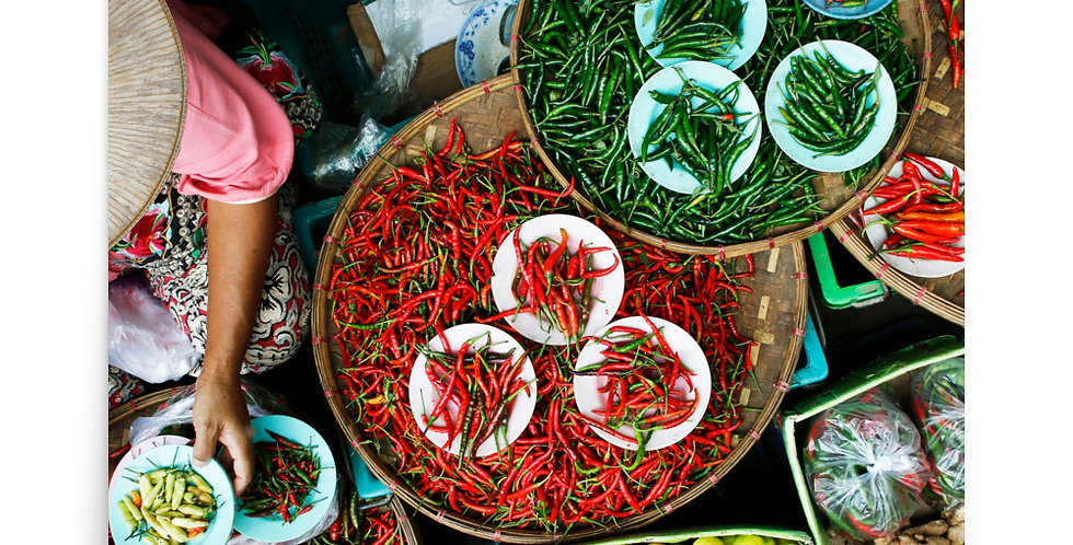 Poster: Fresh chili pepper sell in Thailand market
