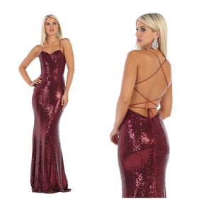 Sequin lace up back