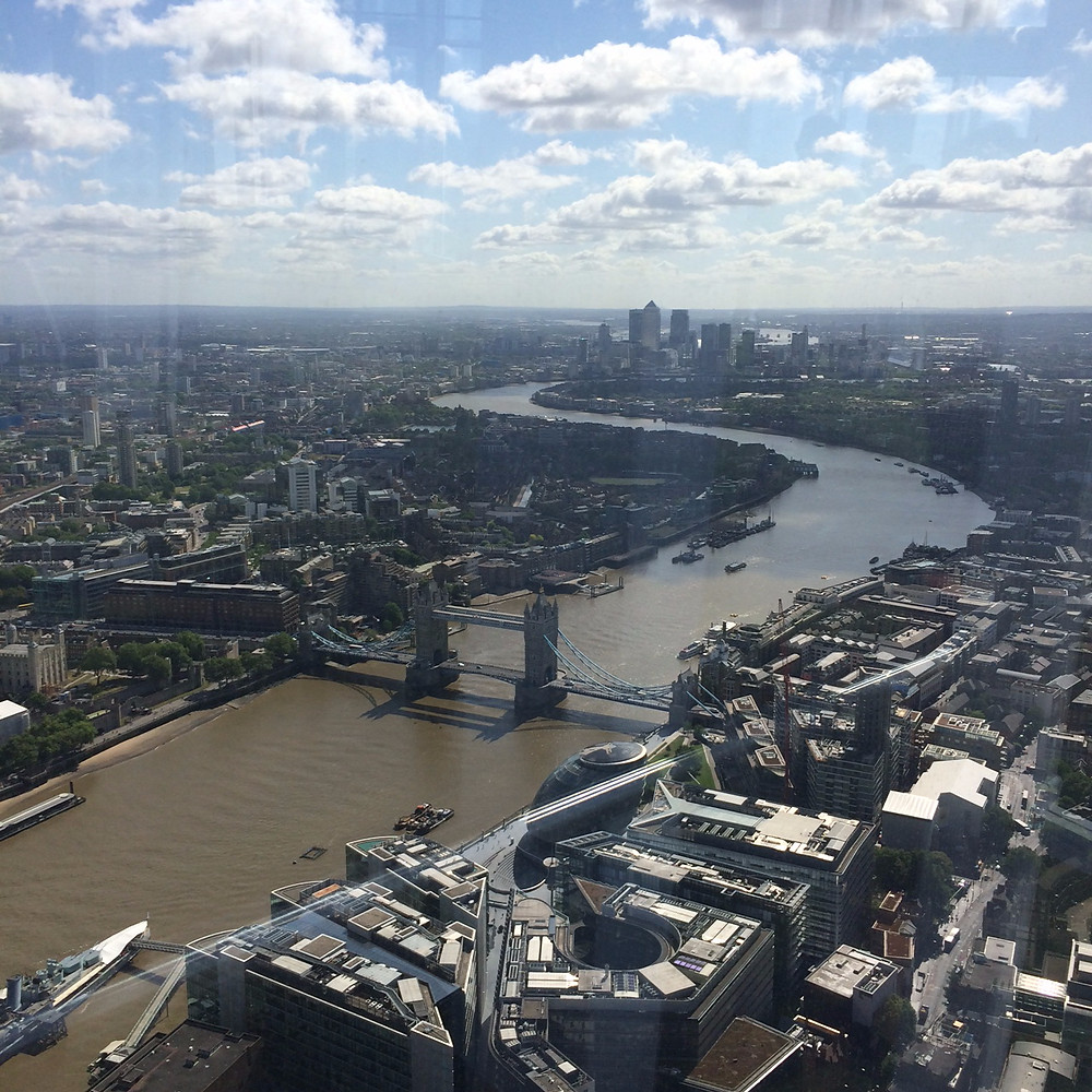 Canary Wharf, London, Tower Bridge, the Thames, view from the Shard, Yogasphere
