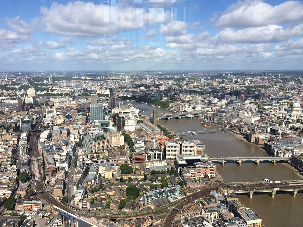 London Eye, view from the Shard, St Pauls, the Thames, Tate Modern, Yogasphere