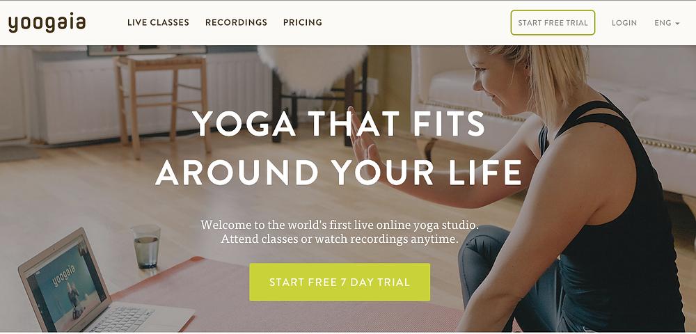 yoogaia, online  yoga, pilates, barre, tai chi