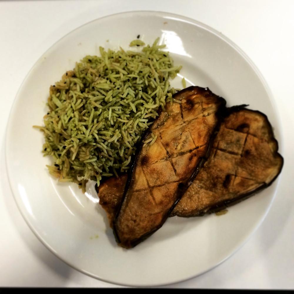 matcha rice, miso aubergine eggplant, superfood, healthy eating
