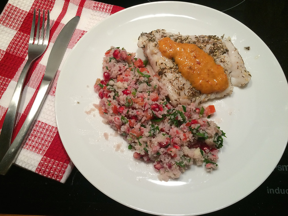 Mindful Chef, Za'atar pollock tabbouleh, meal delivery, healthy eating