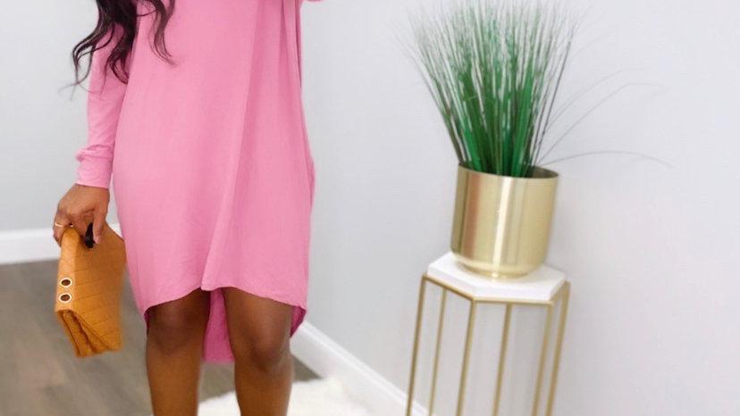 Step Pink High Low Dress