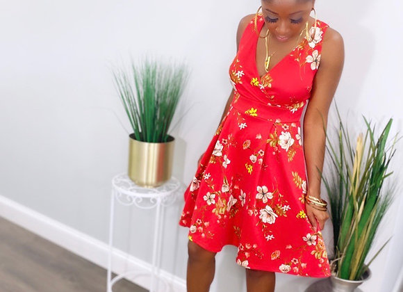 Bloom In the city Red Skater Dress