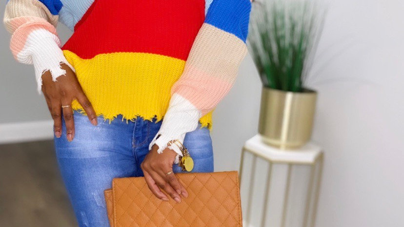 Renee Distressed Color Block Sweater