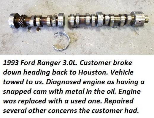 93 Ford Ranger snapped camshaft