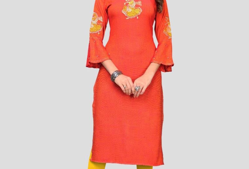 Women's Rayon Embroidered Kurti (Orange)