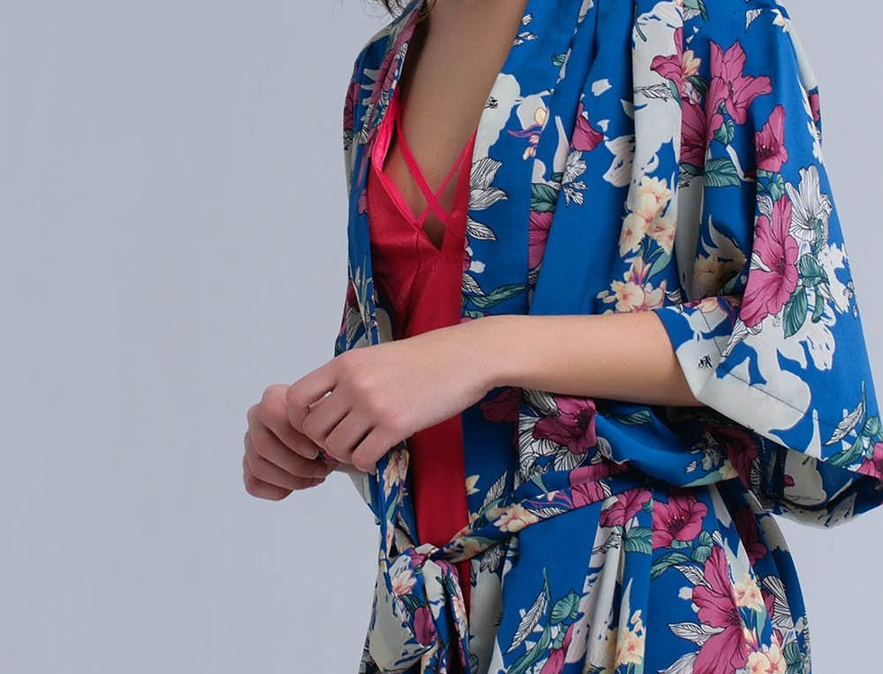 Blue Flower Printed Kimono