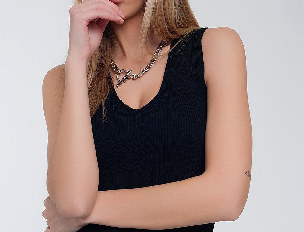 Ribbed Jersey Tank Top in Black