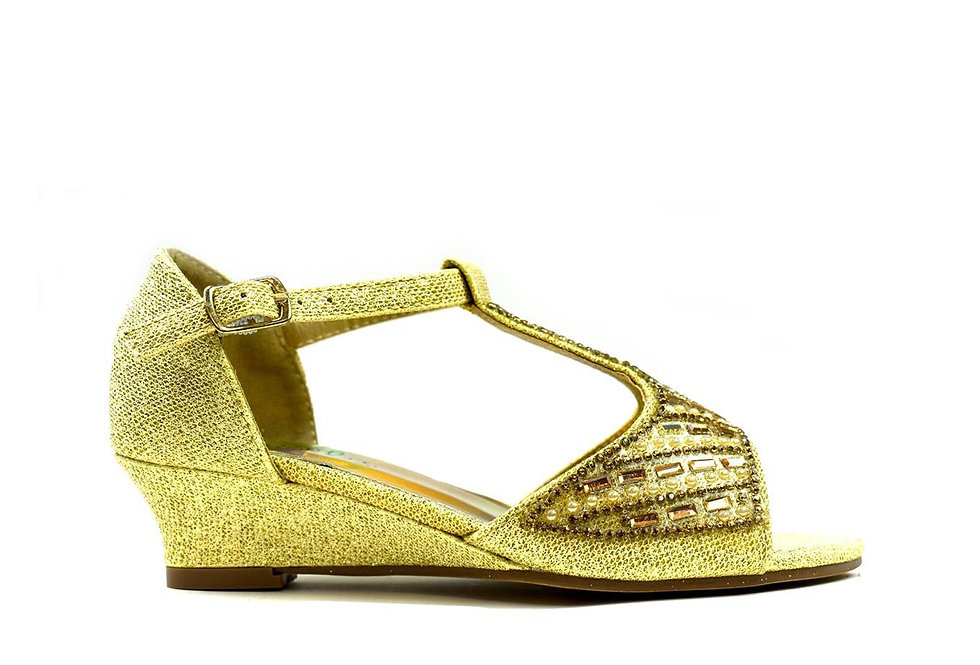 Girl's Wedge T-Bar Party Sandals Gold