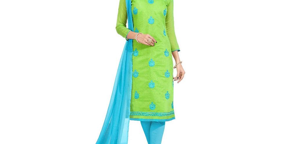 Chanderi Fabric Green Color Dress Material