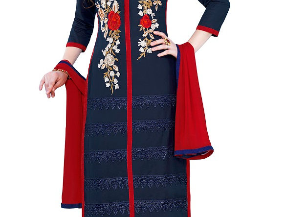 Navy Blue Cotton Embroidered Party Wear Salwar Suit Material