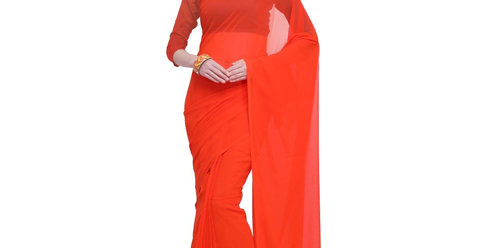 Women's Dyed Saree(Orange,5-6 Mtrs)