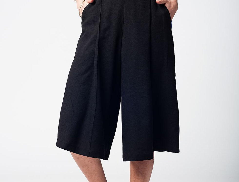Black Pants Skirt With Silver Buttons