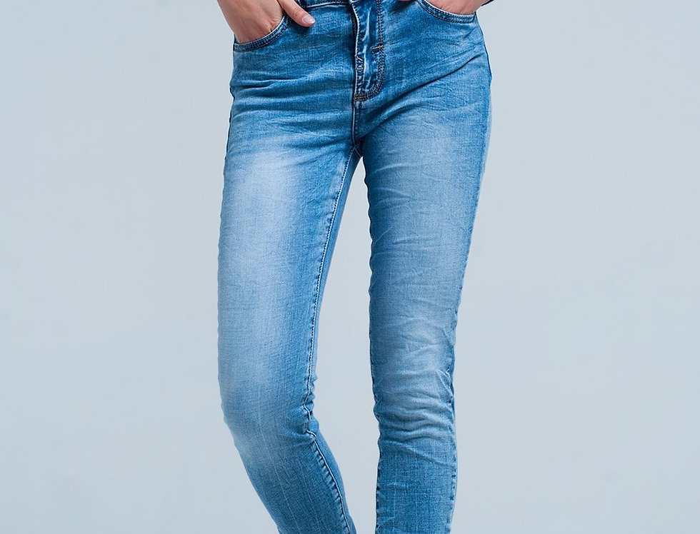 Fringed Light Washed Skinny Jeans