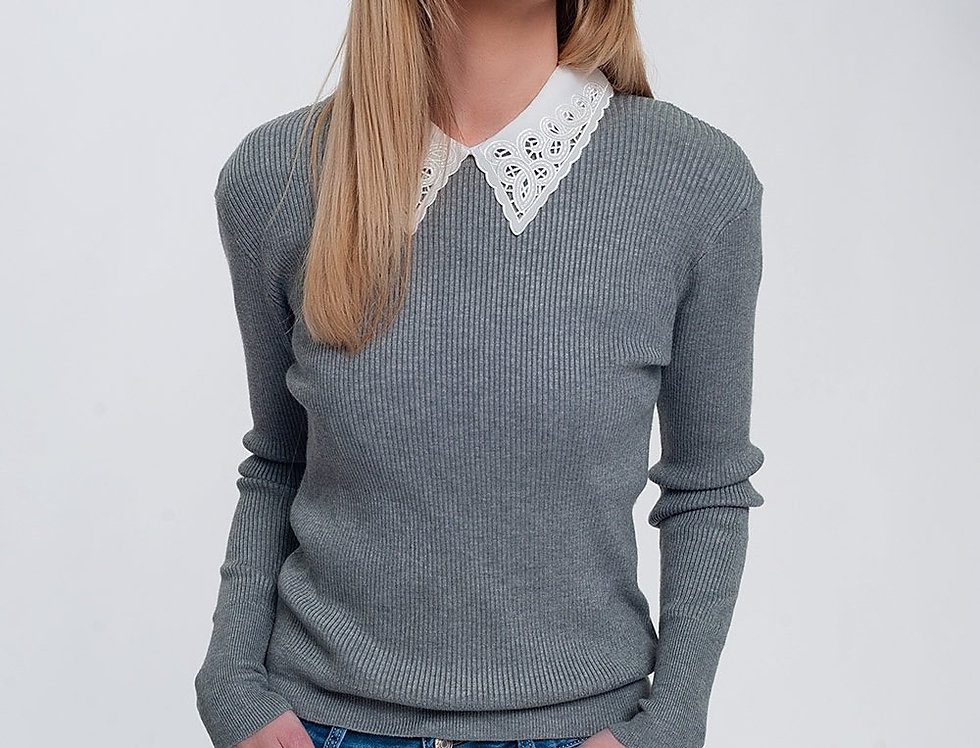 Fitted Jumper in Gray Rib Knit