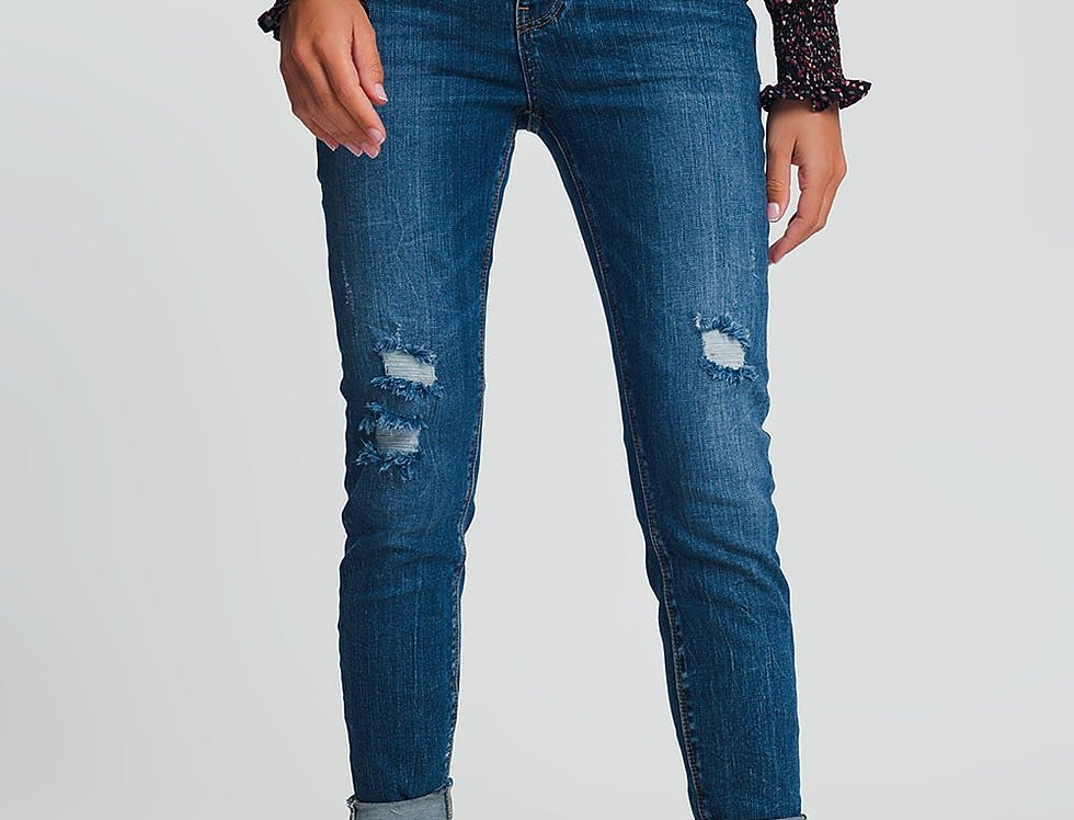High Waisted Skinny Jeans in Dark Wash Blue With Ripped Details
