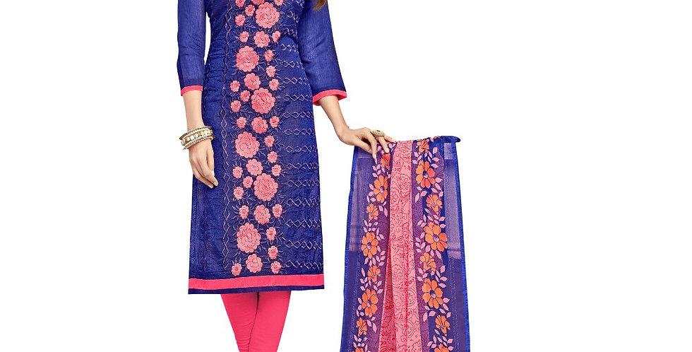 Chanderi Fabric Blue Color Dress Material