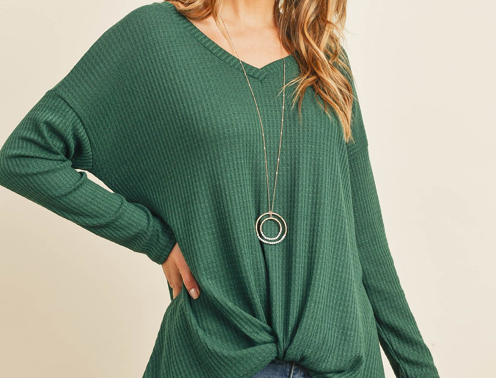 Solid Waffle Long Sleeved V-Neck Knot Top