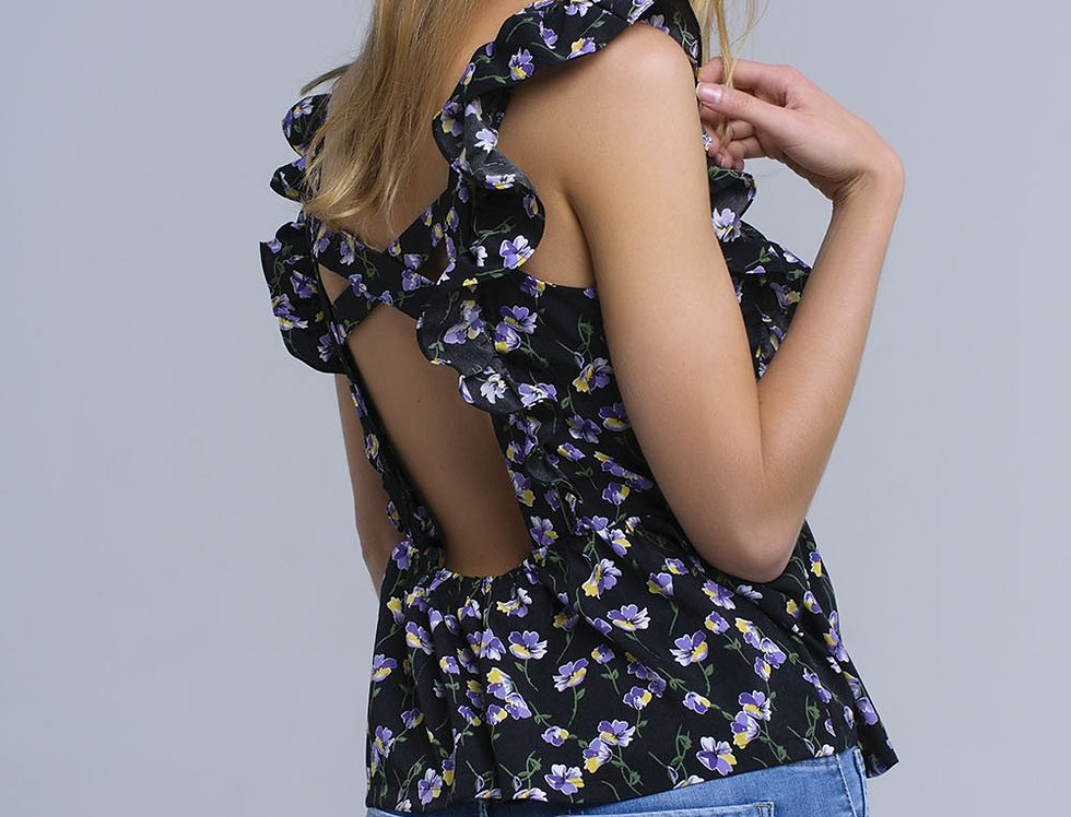 Black Crossed Back Shirt With Ruffles