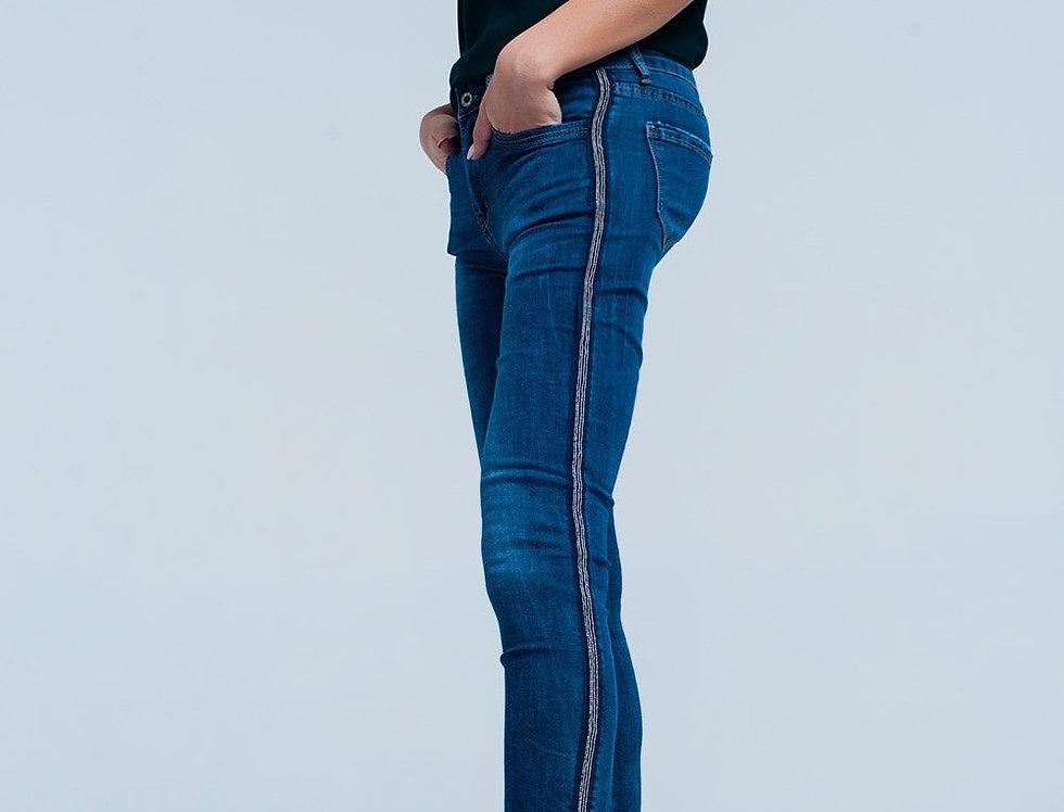 Blue Skinny Jeans With Metal Side Stripe