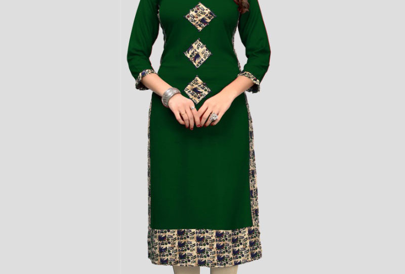 Women's Rayon Printed Kurti (Green)